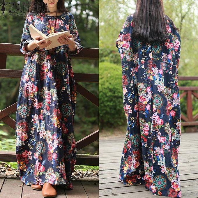 04604983ab ZANZEA Women Maxi Long Dress Vintage Floral Print Dresses Batwing Long  Sleeve Pockets Casual Loose Vestidos