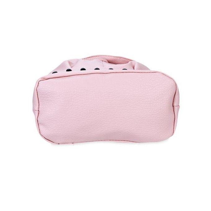 Women Rivet Plaid Bucket Backpack - Pink