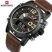 5006bc90d NAVIFORCE Mens Watches Luxury Sport Quartz-Watch Leather Strap Clock Men  Waterproof Wristwatch