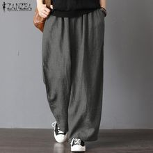 a180b8d738 ZANZEA Womens Oversize Harem Pants Wide Legs Casual Pants Elastic Waist  Trousers