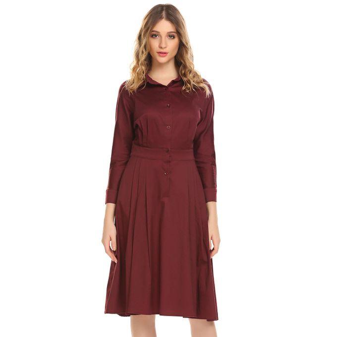 f02759f9545ee المرأة القميص الياقة كم طويل ارتفاع الخصر أ-- خط القميص اللباس-النبيذ الأحمر