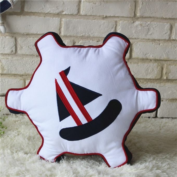 Pirate style Cushion Bed Backrest Support Throw Pillow with Pillow Insert,  Size: 47 x 47cm(White) –  مصر