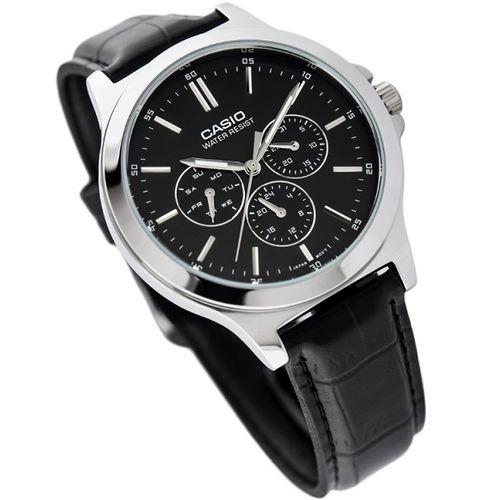 MTP-V300L-1A Leather Watch - Black - (999)