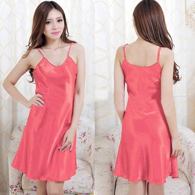 cbdb6e5b1ab1 ZANZEA Fashion Women Plus Size Sexy Lingerie Nightdress Silk Robe Dress  Babydoll Nightgown Sleepwear Melon Red