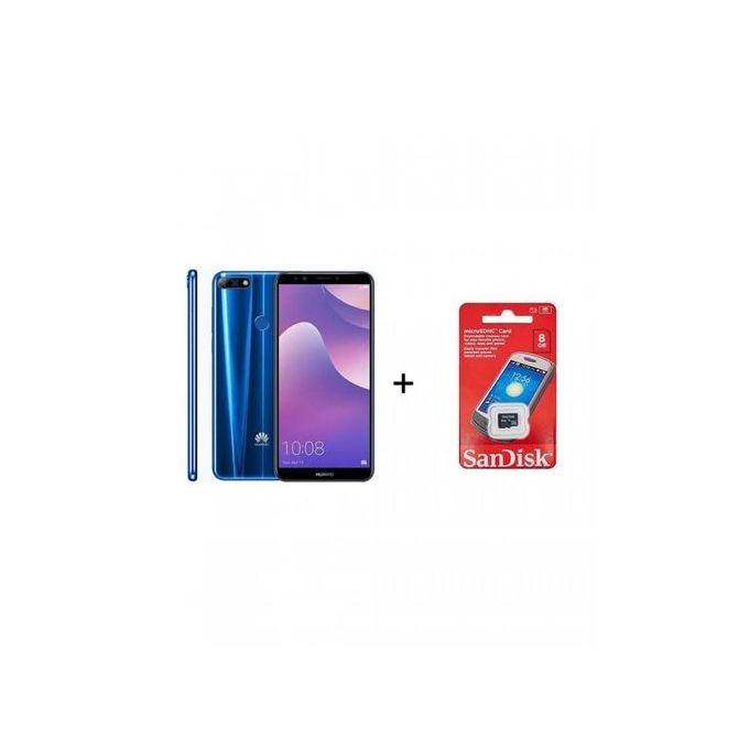 Y7 Prime 2018 - 5.99 - 32 GB - Dual SIM 4G Mobile Phone - Blue + 8 GB Sandisk Memory Card