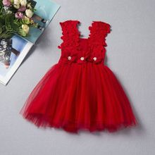 34be9d4541d Hot Stuff Mini Mode Baby Girls Flowery Lace Sun Dress Casual Corsage Trim  Sleeveless