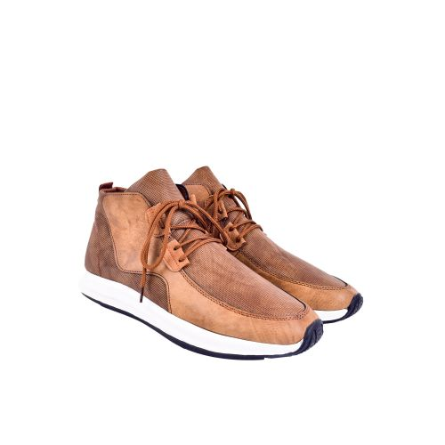 Casual Leather High Neck Sneaker - Coffee