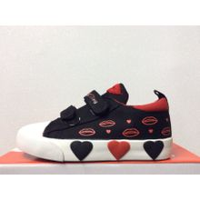 Black Hearts Canvas Children Kids Girls Sports Running Trainers PE Gym Shoes Pump Casual Sneakers Sizes