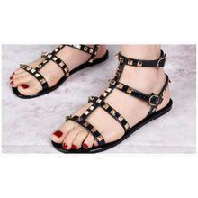 98ddc4b114c4 Summer Women  039 s Rivet Sandals Flat Gladiator Casual Soft 2 Buckle Shoes  Slippers