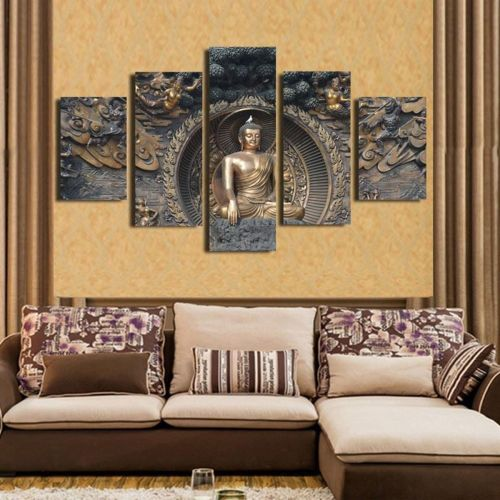 Universal Framed Home Decor Canvas Print Painting Wall Art Buddha Statue Meditation 20cm