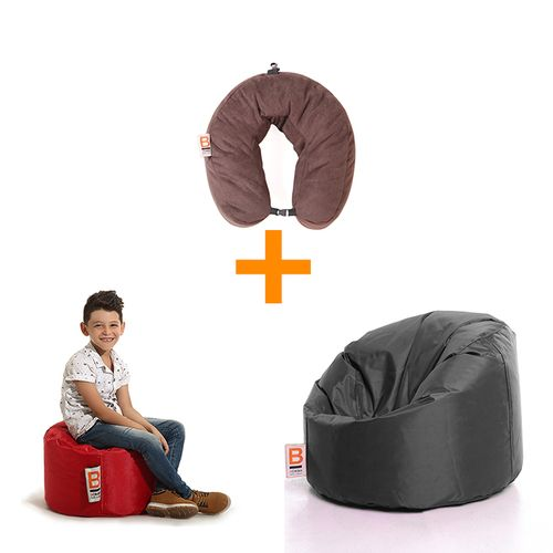 Bubbly Bean Bag - Black + Jet Comfy Pillow - Brown + Desk Puff - Red