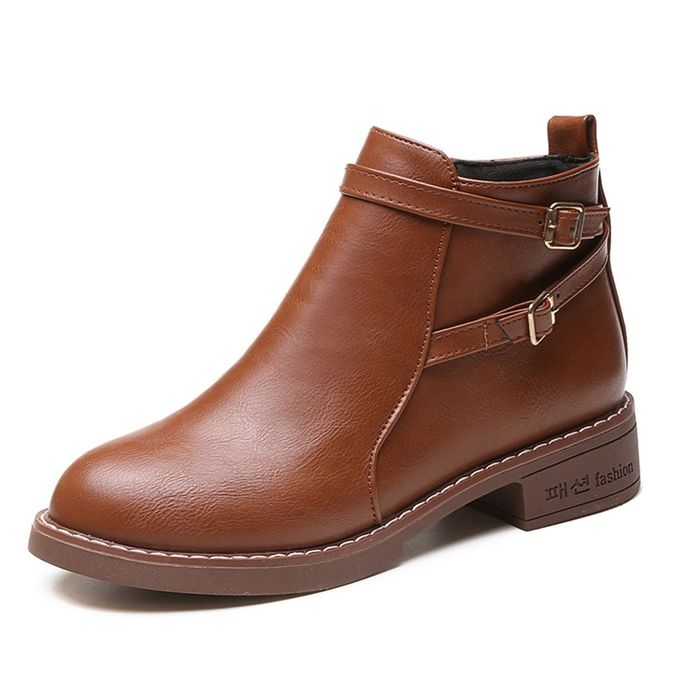 a8005b03b1d Jummoon Shop Women Fashion Solid Leather Middle Zipper Thick Martin Boots  Round Toe Shoes