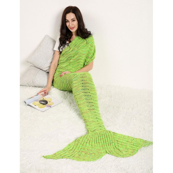 Adult Handmade Knitted Wave Mermaid Tail Shape Blanket Sleeping Sofa Blanket –  مصر