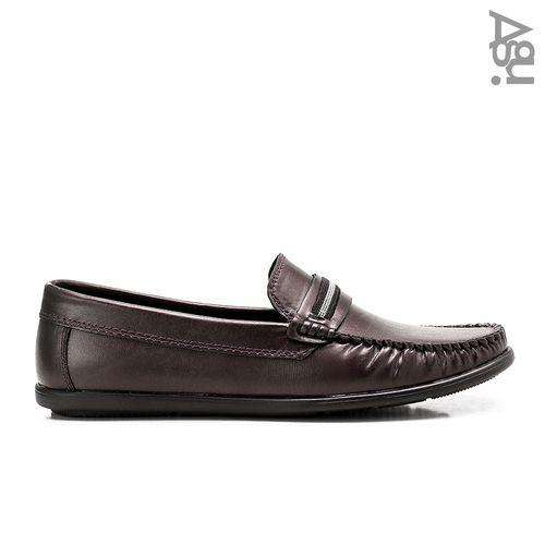 حذاء جلد سهل الارتداء - بني داكن