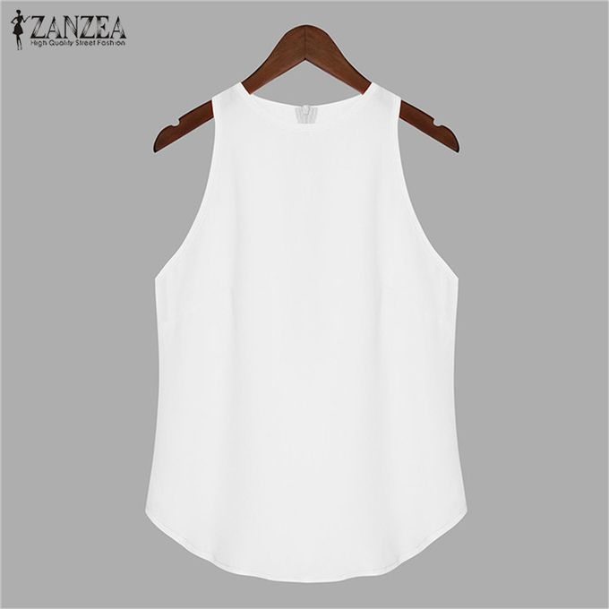 54f6a9fbab1a Summer Women Sleeveless Candy Back Zip Club Party Vest Tops Cami Blouse Plus