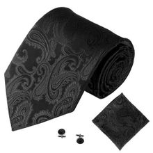 26e47c79bf9e Fashion 3PCS Classic Jacquard Men Party Tie Pocket Square Handkerchief Cuff  Link