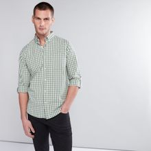 52796def153a Men Chequered Shirt With Long Sleeves And Complete Placket - MEDIUM GREEN