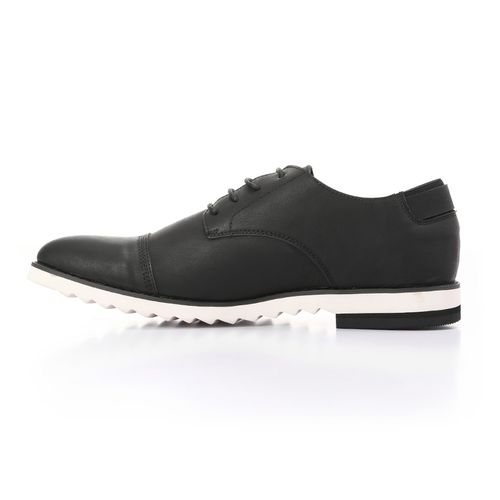 Solid Leather Men Classic Shoes - Black