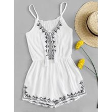 e9c2e965c38a Embroidered Trim Self Tie Cami Romper - All Sizes Are In US Size