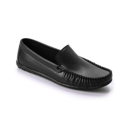 Elegant Leather Men Loafers - Black