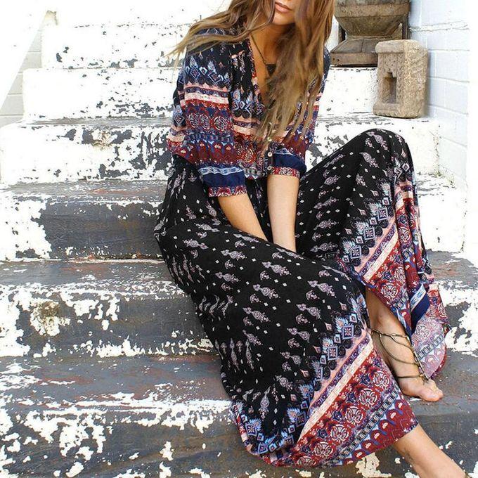 18318dab589b2 Women Long Maxi Dresses Bohemia V-neck 1/3 Sleeve Floral Print Summer Beach  Split Dress