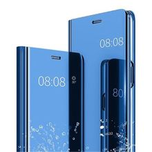 Huawei Honor Play Leather Case Cover With Stand Function And Plating Mirror-Blue