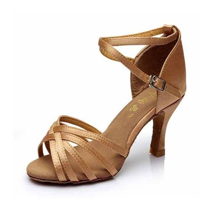 63f15352b Women's Ladies Ballroom Latin Tango Dance Shoes Heeled Salsa 3 Colors 5/7CM  Light Beige