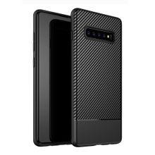 Lewei Series Carbon Fiber Texture TPU Protective Case For Galaxy S10 Plus ( Black)
