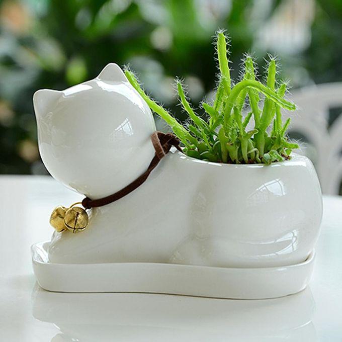 Cat Animal Ceramic Succulent Plant Flower Pot Planter Garden Office Desk Decor –  مصر