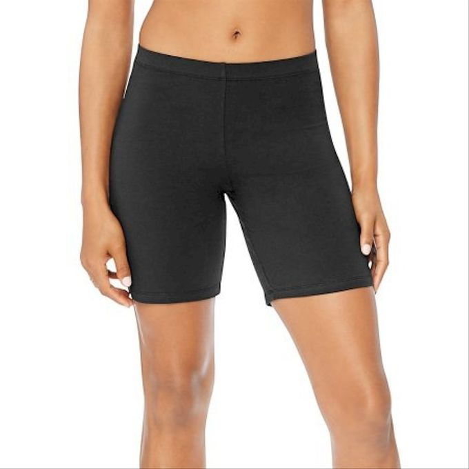 Hanes Womens Stretch Jersey Bike Short [Charcoal Heather, 1X Big]