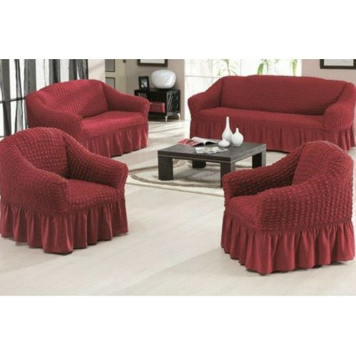 Generic Turkish Sofa Covers Set 4pcs Burgundy