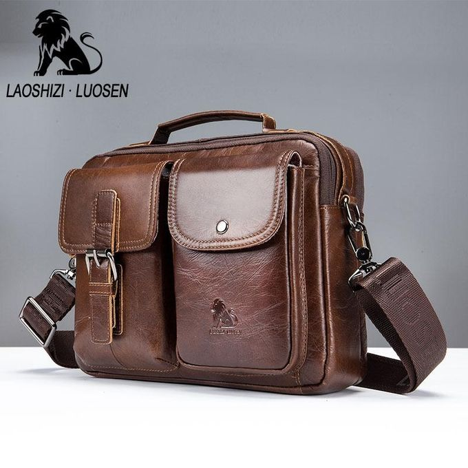 cfc58efeb0af Mens Leather Messenger Bag Retro Laptop Bag Business Briefcase Shoulder Bag