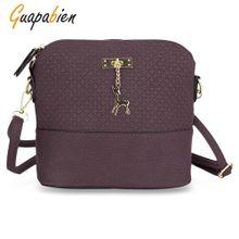 acffb543e1 Guapabien Stylish Plaid Pattern Small Deer Pendant Shell Shoulder Handbag  For Ladies-PURPLE