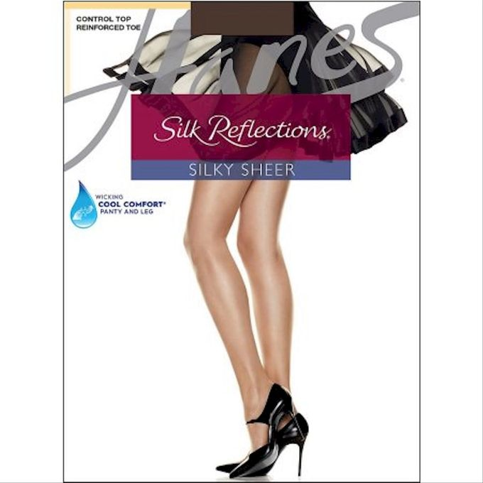 Hanes Womens Control Top Reinforced Toe Silk Reflections Panty Hose [Cocoa, 1, E/F]