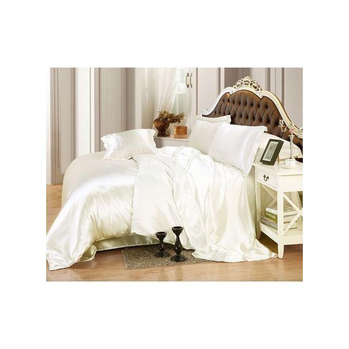 Solid Color Silk Duvet Cover Sets Bedding Set 4pcs 200*230CM Color:white –  مصر