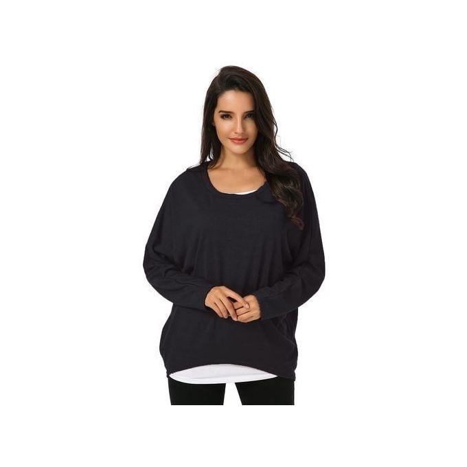 8a338a06a92cb0 ZANZEA Women's Sexy Long Batwing Sleeve Loose Pullover Casual Top Blouse T- Shirt Black