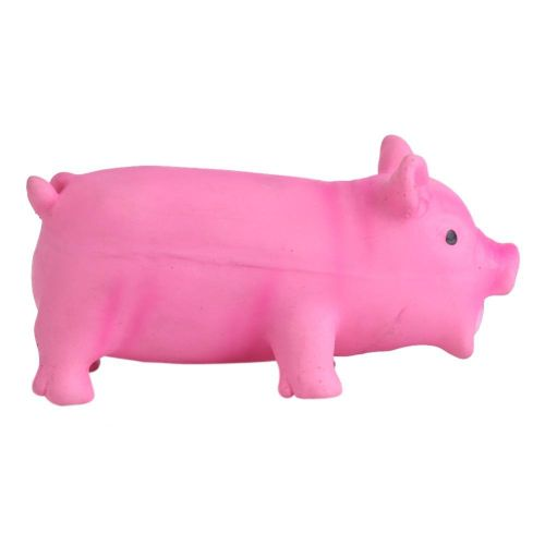 1Pcs Soft Lovely Latex Dog Toy Sounding Pig Pet Puppy Chew Children Kids Play Supplies (Pink L)