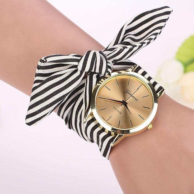 Henoesty Women Stripe Floral Cloth Quartz Dial Bracelet Wristwatch Watch Black Black –  مصر