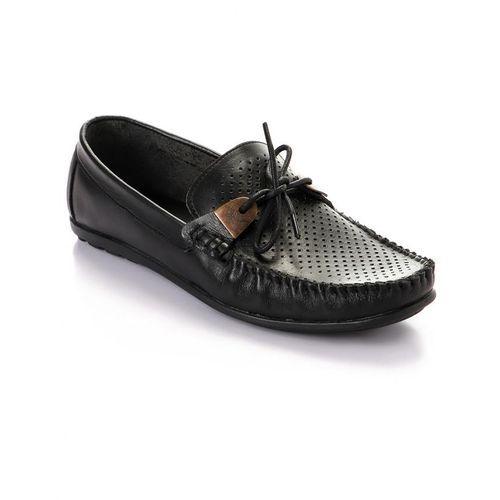 Elegant Decorated Genuine Leather Men Shoes - Black
