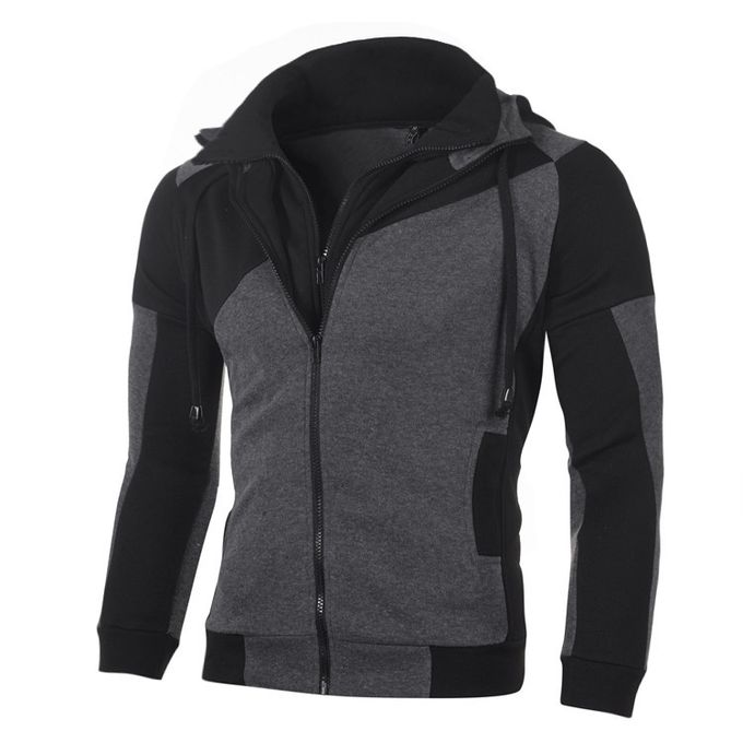 8b55e916fea0 Men s Personality Color Matching Double Zipper Hooded Cardigan Slim Sweater -black