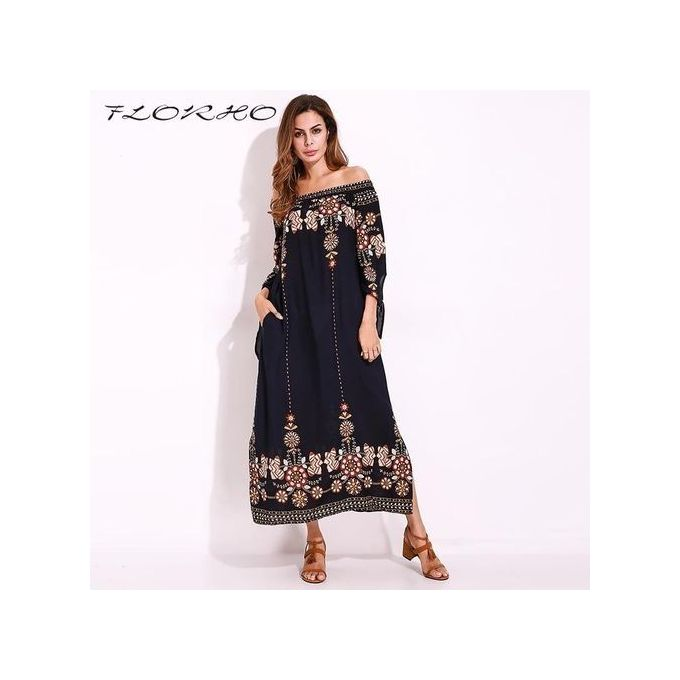 280d85f5aa S-5XL Boho Women Off Shoulder Long Sleeve Party Evening Floral Long Maxi  Dress NavyBlue