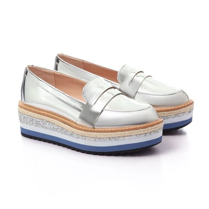 Metalic Silver Wedge Espadrille With Striped Heel