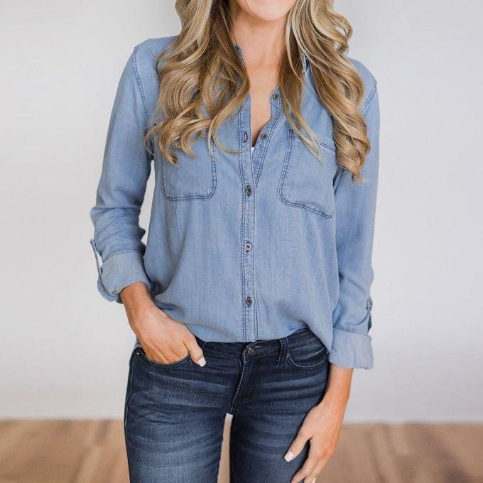 53c75044f ... Tectores Women Casual Soft Denim Shirt Tops Blue Jean Button Long  Sleeve Blouse Jacket ...