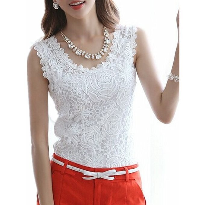 Sale On Women Casual Vest Blouse Sleeveless Floral Lace Crochet Tank