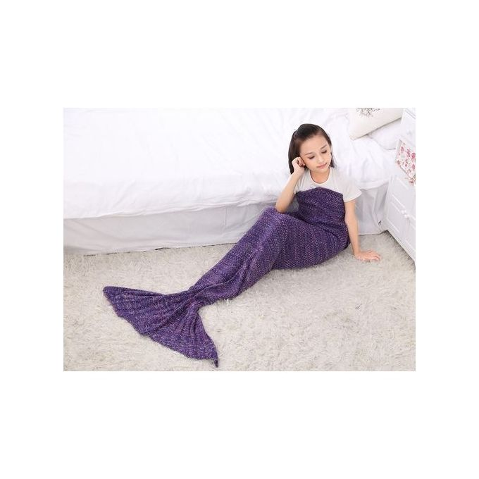 Children Soft Warm Knit Mermaid Tail Blanket Sleeping Bag 70*140cm Color:Purple –  مصر