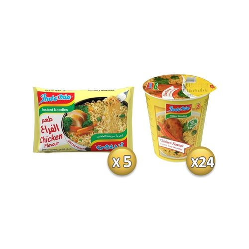 Indomie Pack of 24 Chicken Cups + 5 Free Chicken Packs