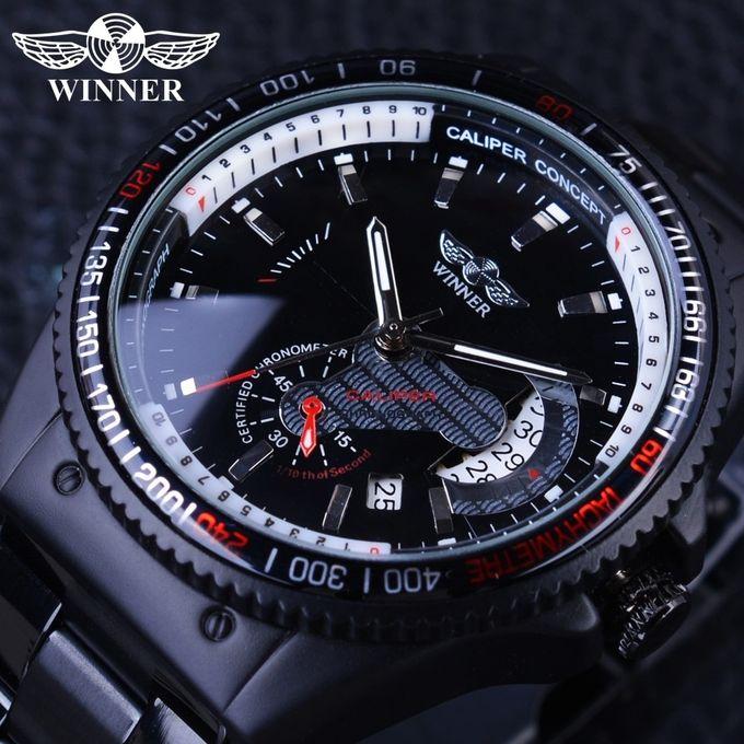 Winner 2017 Racing Design Black Stainless Steel Calendar Display Mens Watches Top Brand Luxury Mechanical Automatic Watch Clock