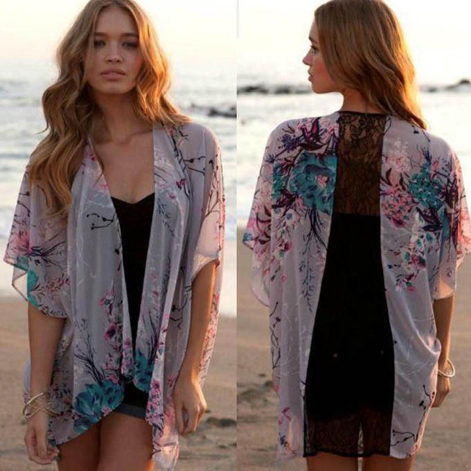 f86ebe9594a Xiuxingzi Women Floral Short Sleeve Lace Splice Chiffon Kimono Cardigan  Tops Blouse M