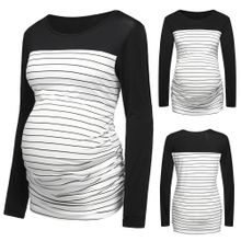 918bc54f71dce (Xiuxingzi) Women Mom Pregnant Nursing Baby Maternity Stripe T-shirt Tops  Blouse Clothes