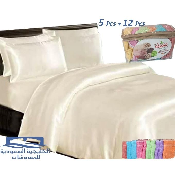 ملايات سرير ساتان – 5 قطع – أوف وايت + شنطة فوط مطبخ هدية 12 قطعة –  مصر